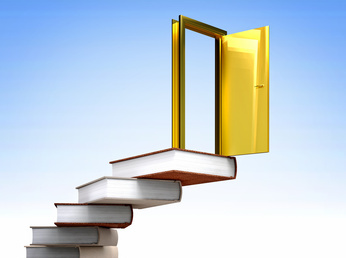 golden door over knowledge stair