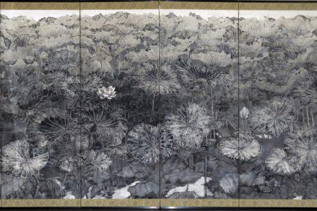 Tatsuaki Oyama,Renchi  蓮池, mineral pigment on washi © Tatsuaki Oyama, courtesy of Oto Art
